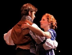 """Photo Credit """"The Examiner"""": Andy Truschinski as Young Ebenezer and Jessie Mueller as Belle."""