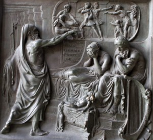 Paris - Detail from gate of Madelaine Church - The Prophet Nathan and King David
